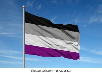 3D asexual pride flag on a flagpole in front of blue sky.