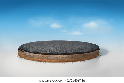 3D asphalt road on round layered soil cross section , realistic 3D rendering slice circle cutaway with tar road isolated on blue sky