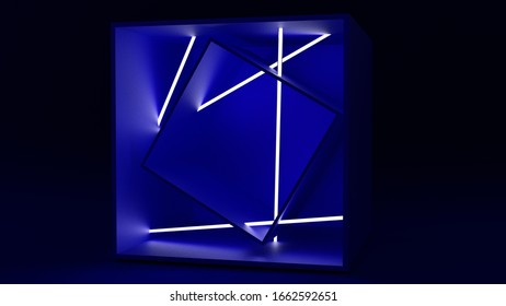 3D assymetrical cubes and neons