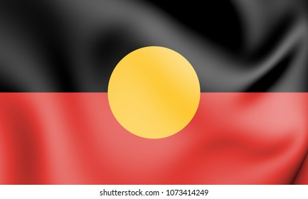 3D Australian Aboriginal Flag. 3D Illustration.