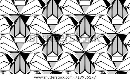 3 D Background Black White Graphic Ornament Stock Illustration