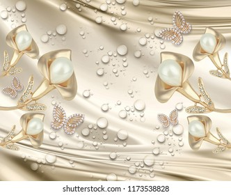 3d background calla lily and butterfly, water drop, silk, gold and pearls, gold jewelry wallpaper