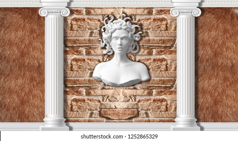 3d background, columns, fur and statue Medusa. Ancient Greek Mythology. 3d background in classical style