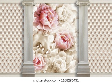 3d background with columns, stone flowers and effect of quilted leather will visually expand a room, make it lighter and become an accent in the interior design. Pastel colors.