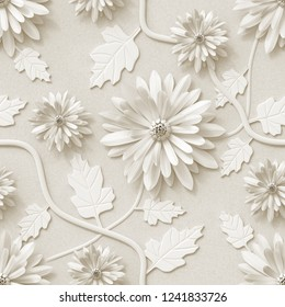 3d background, floral wallpaper, flowers chrysanthemum, seamless