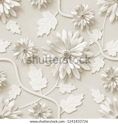 3 D Background Floral Wallpaper Flowers Chrysanthemum Stock