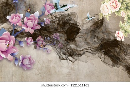 3d background, flowers, dark smoke