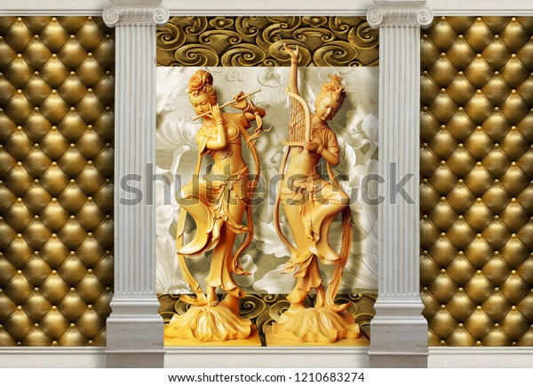 3d background, golden statue and effect of quilted leather