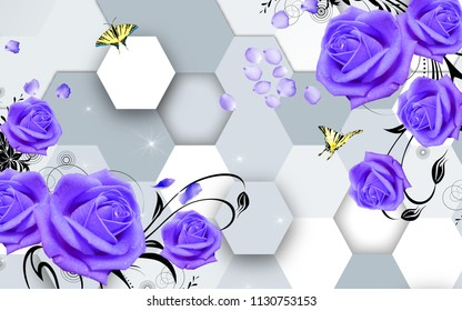 3d background, honeycomb, purple roses