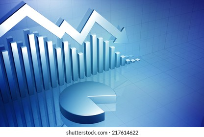3D background image of a business stock market chart with a down arrow and pie chart