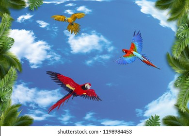 3d background, palm trees and parrots on blue sky background.