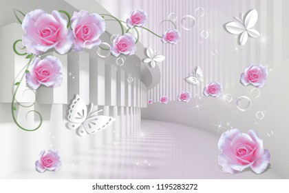 3d background with pink roses and paper butterflies in architectural tunnel. Beautiful flower wallpaper. Flowers in the Tunnel is an original decoration in interiors design.