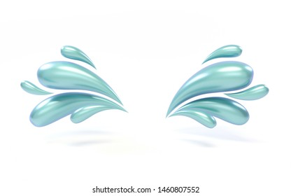 3d background rendering of colorful liquid drops. Metallic material in white illuminated studio. Frame for product advertising, space in the middle. Abstract iridescent green liquid elements flying