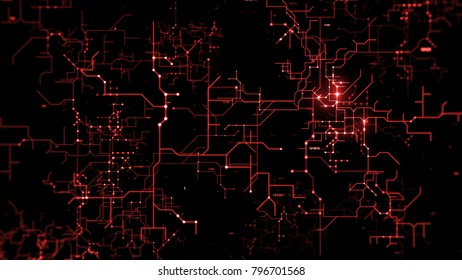 3d background. Technology circuit like concept. Abstract data pattern rendered with depth of field.