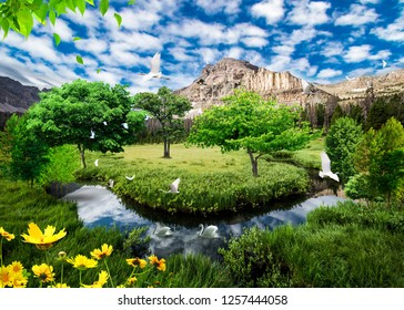 3d background wallpaper design with natural objects and landscape for mural