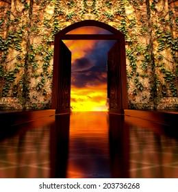 3d backgrounds door opened in the building.