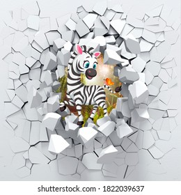 3D background,zebra peeping from a broken wall.3D wall looks very lovely and also brings different colors to room! It will visually expand children's room and become an accent in the interior