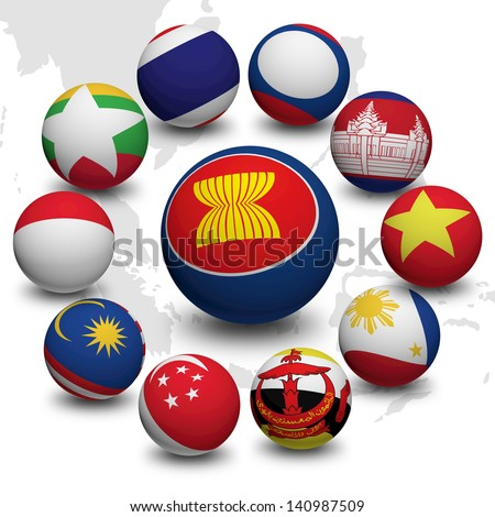 3D Ball with Flag of Asean Economic Community