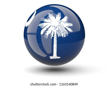 3D ball icon with flag of south carolina. United states local flags. 3D illustration