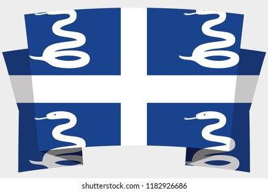 A 3D Banner with the Country Flag of  Martinique