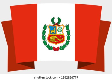 A 3D Banner with the Country Flag of  Peru