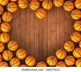 3d basketball balls with love heart on wood floor banner