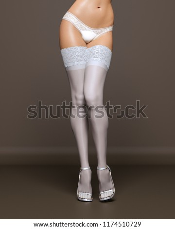 d776b15e6 3D Beautiful female legs white stockings and panties dark background.Woman  studio photography.High