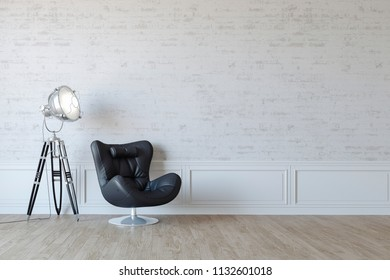 3d beautiful interior render with leather arm chhair and lamp