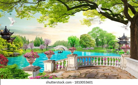 3D Beautiful lake and tower view from balcony wallpaper
