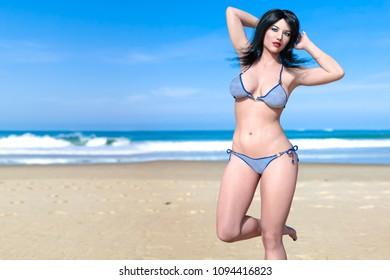 0b630c8e8ab8d 3D beautiful woman swimsuit bikini on sea beach. Summer rest. Blue ocean  background.