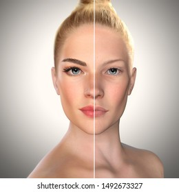 3d beauty comparison face before and after, Eyebrow microblading,permanent makeup,lip fillers