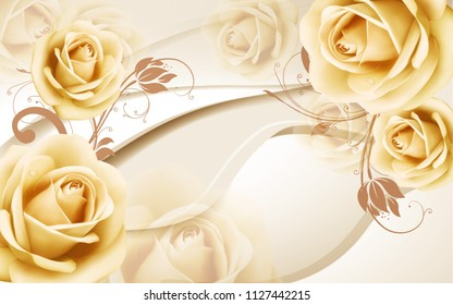3D beige background with large buds of roses