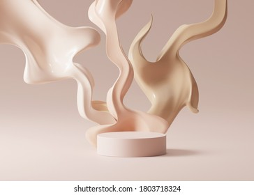 3D beige pedestal podium with liquid foundation splash on bright background. Nude cream fluid flow with display showcase for beauty product, cosmetics promotion.  abstract 3D render illustration