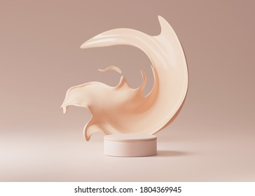 3D beige pedestal podium with liquid foundation splash swirl on studio background. Nude cream fluid flow with display showcase for beauty product, cosmetics promotion.  abstract 3D render mockup