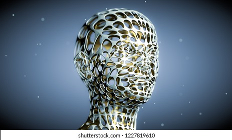 3D bi-metallic android or alien head with particles floating around. Abstract technology, engineering and science fantasy. Depth of field settings. 3D rendering.
