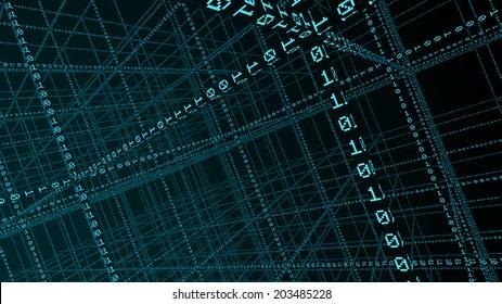 3D Binary code - big data and programing concept