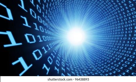 3D Binary tunnel background - data stream concept