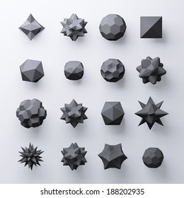 3d black abstract geometric polygonal shapes isolated on white background