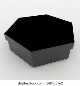 3d black bento boxes, sushi boxes set  packaging hexagon box and lids for blank template products in isolated background with clipping paths, work paths included