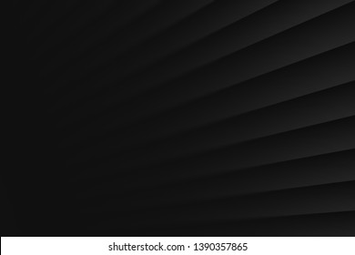 3D Black Clear Blank Subtle Pure Geometrical Abstract Background In Ultra High Definition Quality. Dynamic Growth Up Perspective. Conceptual Technology Illustration. Minimalist Wallpaper