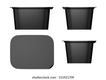 3D Black color Package Plastic container for yogurt design set of four, isolated