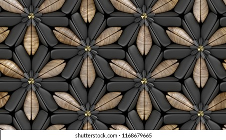 3d black foliage tiles with wood walnut elements background. Material wood walnut. High quality seamless realistic texture.