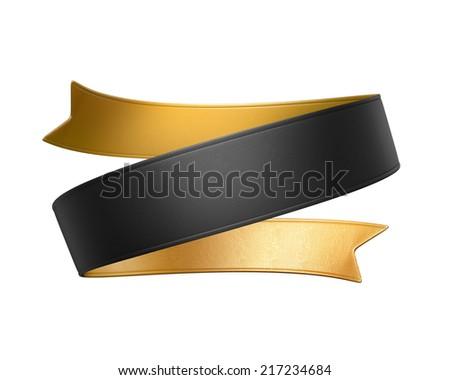 3 d black gold ribbon textile texture stock illustration 217234684