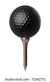 3d Black Golf ball on tee on white background