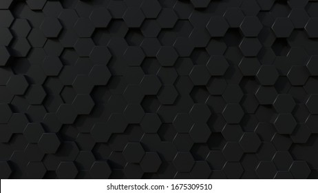3D black honeycomb illustration to use as background