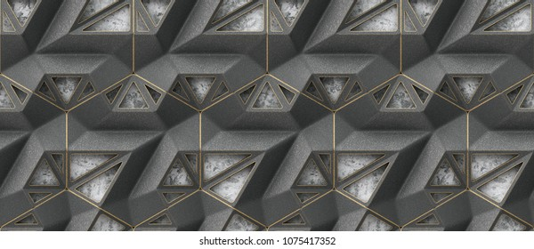 3D black iron lattice loft panels on gray stucco with gold facets. High quality seamless design texture