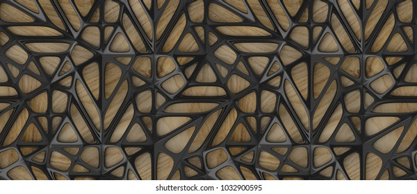 3d black lattice tiles on wooden oak background. Material wood oak. High quality seamless realistic texture.