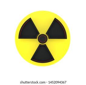 3D black radiation sign isolated on white background