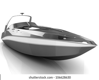 3D black speedboat isolated on a white background
