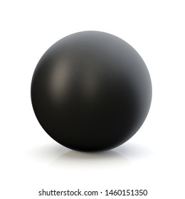 3d black sphere in studio environment, on white background 3d illustration